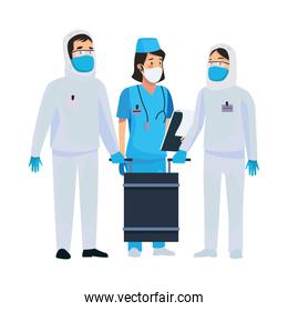 nurse with biosecurity cleaning persons