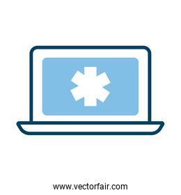 laptop with medical symbol health online half line style