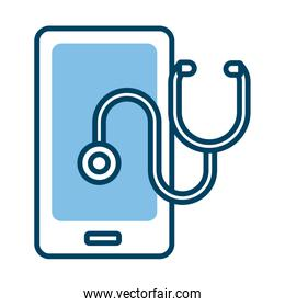 smartphone with stethoscope health online half line style