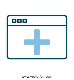 webpage with medical symbol health online half line style
