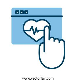 webpage with heart cardio health online half line style