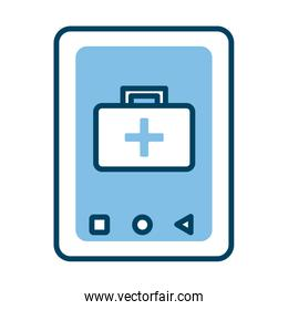 smartphone with medical kit health online half line style