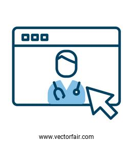 webpage with doctor health online half line style
