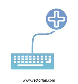 keyboard with medical symbol health online silhouette gradient style
