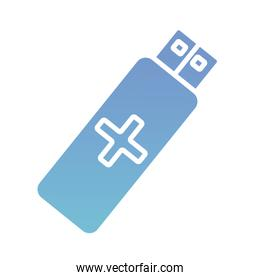 usb memory with cross health online silhouette gradient style