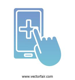 smartphone with mouse hand health online silhouette gradient style