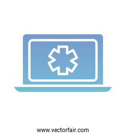 laptop with medical symbol health online silhouette gradient style