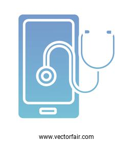 smartphone with stethoscope health online silhouette gradient style