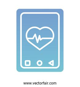 smartphone with heart cardio health online silhouette gradient style