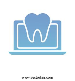 laptop with teeth health online silhouette gradient style