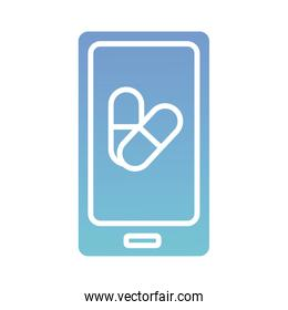 smartphone with capsule health online gradient style icon