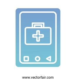 smartphone with medical kit health online silhouette gradient style icon