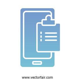 smartphone with order medical health online silhouette gradient style