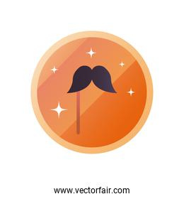 Party mustache mask gradient style icon vector design
