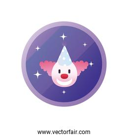 clown with party hat gradient style icon vector design