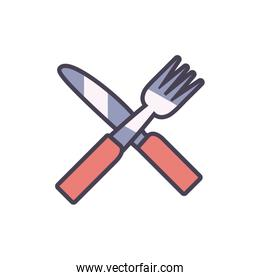 Isolated fork and knife line and fill style icon vector design