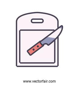 Isolated knife and table line and fill style icon vector design