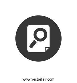 Lupe inside document block flat style icon vector design