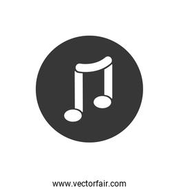 Isolated music note block flat style icon vector design