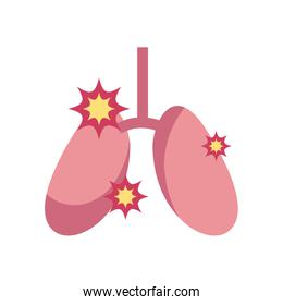 diseased lungs icon, flat style