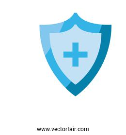shield with medical cross icon, flat style