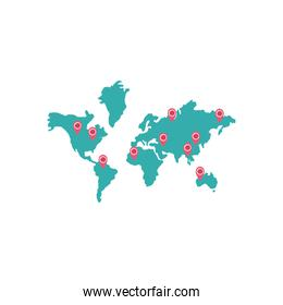 world map with location pin with covid 19 virus icon, flat style