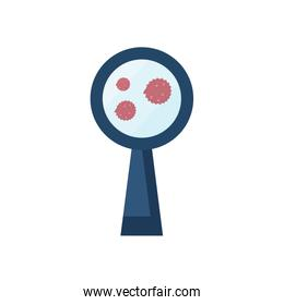 virus and magnifying glass icon, flat style