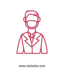 medical doctor with mouth mask icon, line style