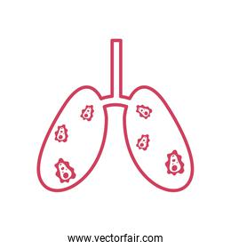 lungs with covid 19 virus icon, line style