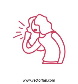 cartoon woman coughing icon, line style