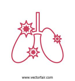 diseased lungs icon, line style