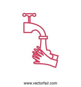 handwashing concept, water faucet and hands icon, line style