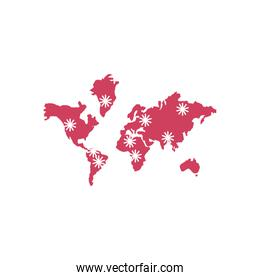 world map with location pin with covid 19 virus icon, line style