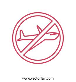 banned flights sign icon, line style