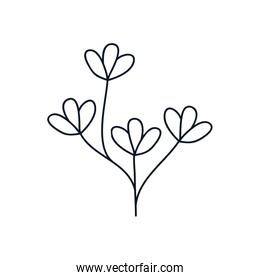 cute branch with delicate leaves icon, line style