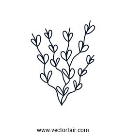 cute branch with leaves icon, line style, minimalist tattoo concept