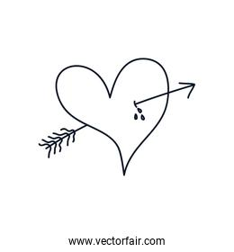 arrowed heart icon, line style