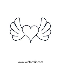 heart with wings icon, line style, minimalist tattoo concept