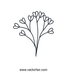 cute branch with hearts leaves icon, line style