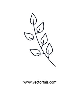 branch with leaves icon, line style, minimalist tattoo concept