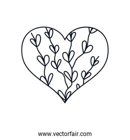 heart with branches with leaves icon, line style