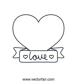 heart with decorative ribbon icon, line style