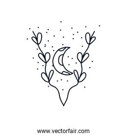 leaves and moon icon, line style, minimalist tattoo concept