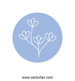 cute branch with delicate leaves icon, line block style