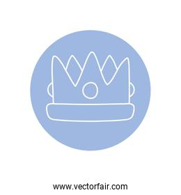 king crown icon, line block style