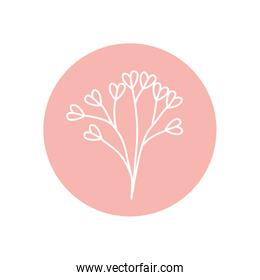 cute branch with hearts leaves icon, line block style