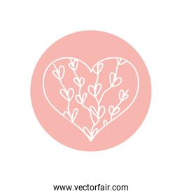 heart with branches with leaves icon, line block style