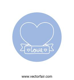 heart with decorative ribbon icon, line block style