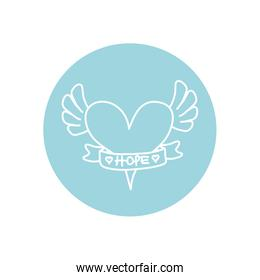 heart with wings and ribbon icon, line block style, minimalist tattoo concept