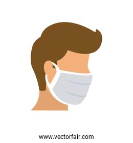 man with mouth mask icon, flat and colorful style